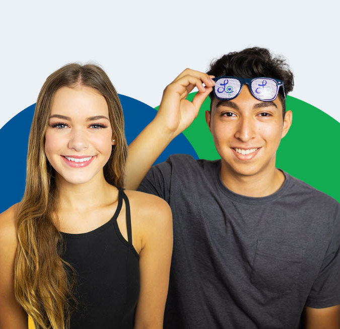 Cutout of two patients, one holding his glasses and the other girl smiling.